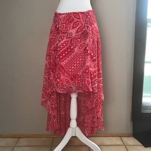 New York & Company Red White High/Low Skirt Size M